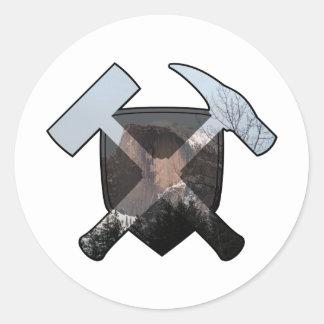 Geologist's Rock Hammer Shield- Half Dome Classic Round Sticker