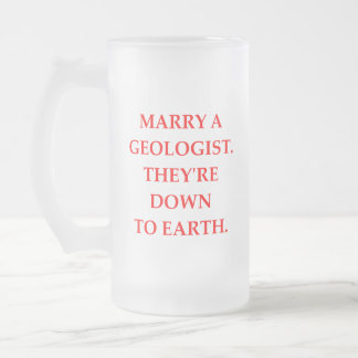 geology frosted glass beer mug