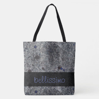 Geology Granite Gray with Blue Details any Text Tote Bag