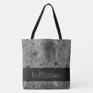 Geology Granite Gray with Moss Details any Text Tote Bag