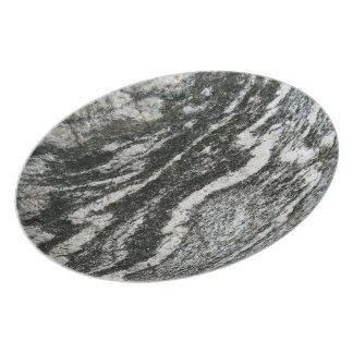 Geology Grey Rock with Decorative Cat Pattern Dinner Plates