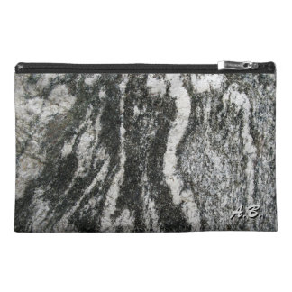 Geology Grey Rock with Feline Pattern and Initials Travel Accessory Bag