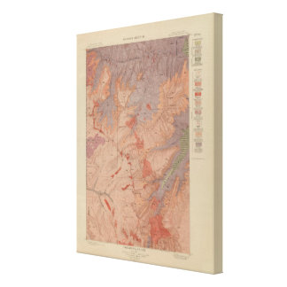 Geology Map, Yellowstone National Part, Wyoming 3 Canvas Print