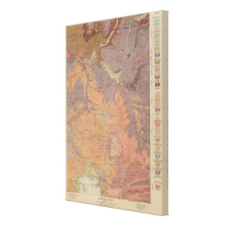 Geology Map, Yellowstone National Part, Wyoming Canvas Print