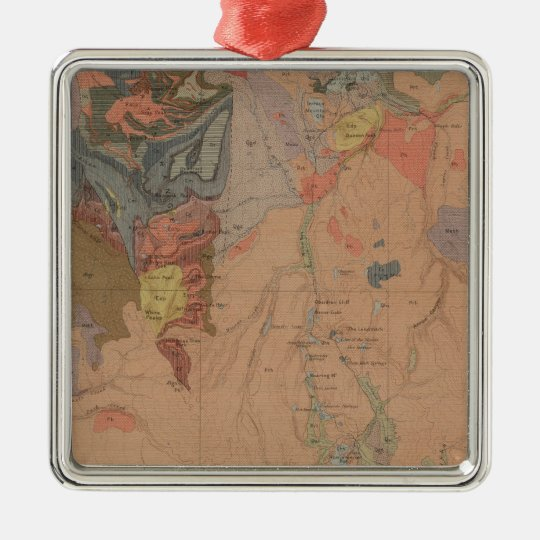 Geology Map, Yellowstone National Part, Wyoming Metal Ornament