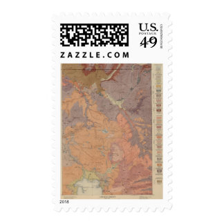 Geology Map, Yellowstone National Part, Wyoming Postage Stamp