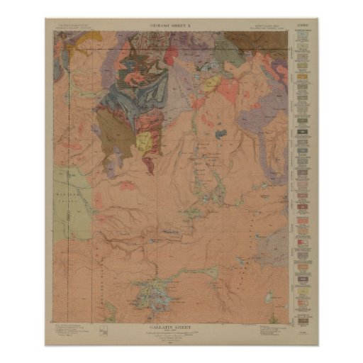 Geology Map, Yellowstone National Part, Wyoming Poster