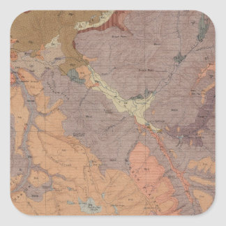 Geology Map, Yellowstone National Part, Wyoming Square Sticker
