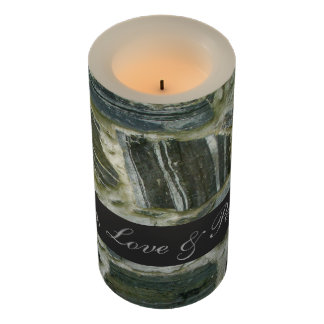 Geology Old Stone Wall Structure with Text Flameless Candle