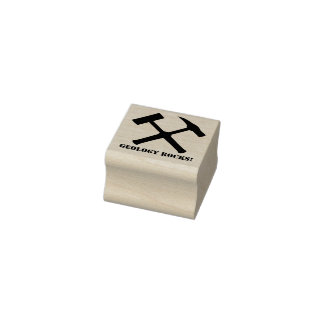 Geology Rocks! Crossed Rock Hammer Rubber Stamp