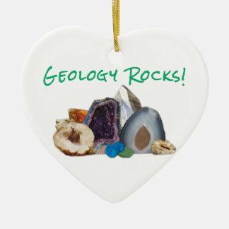Geology Rocks! Double-Sided Heart Ceramic Christmas Ornament