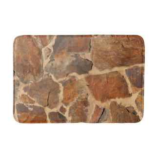 Geology Stone Wall Structure Golden Orange Bathroom Mat