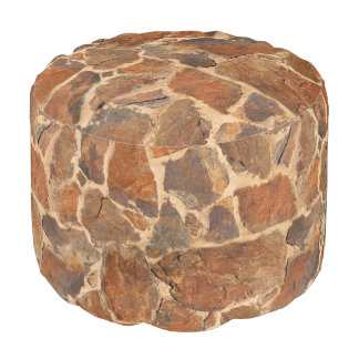 Geology Stone Wall Structure Photo Warm Golden Pouf