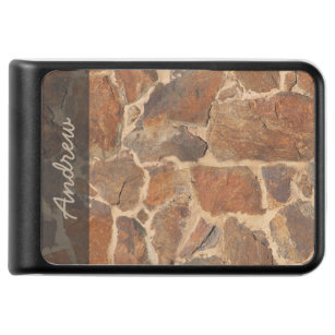 Geology Stone Wall Structure Warm Golden any Text Power Bank