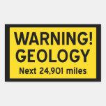 Geology Warning Sign Rectangular Sticker