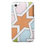 Geometría 12 de trazado de azulejo naranja y azul iPhone 3 fundas