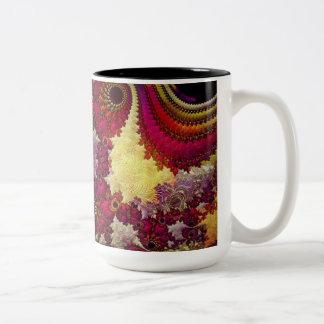 geometría abstracta asombrosa del fractal taza dos tonos