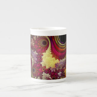 geometría abstracta asombrosa del fractal taza de porcelana