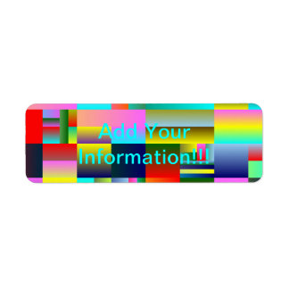 Geometría abstracta colorida etiqueta de remite