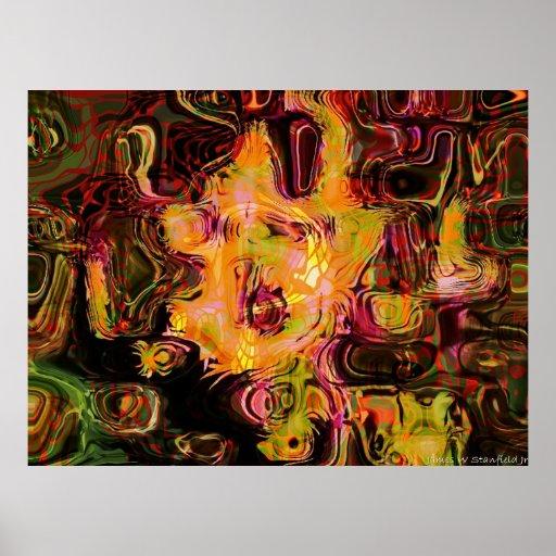 Geometría abstracta de la abeja y de la flor póster