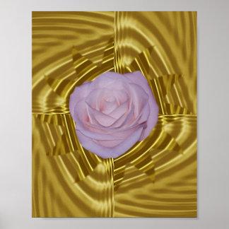 Geometría color de rosa y sagrada rosada póster