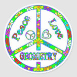 Geometría del signo de la paz etiqueta redonda