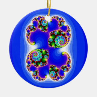 Geometría determinada determinada del fractal de adorno navideño redondo de cerámica
