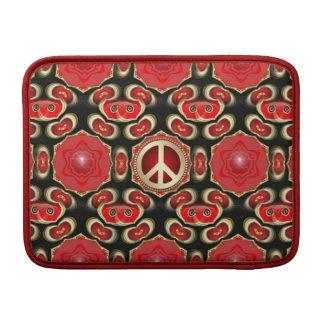 Geometría negra roja del signo de la paz del este  funda  MacBook