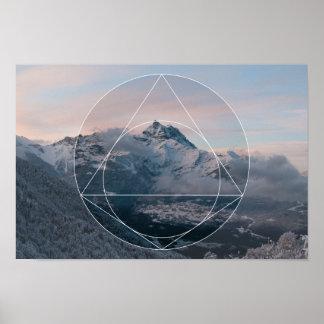Geometría sagrada contra. Las montañas Póster