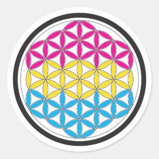 geometría sagrada de la cacerola pegatina redonda