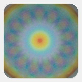 Geometría sagrada de la mandala - 13 arco iris pegatina cuadrada