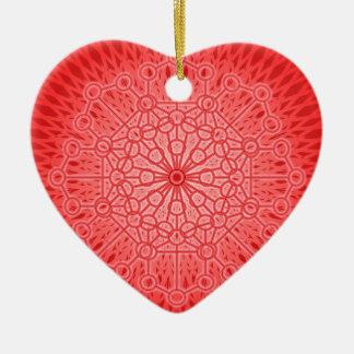 Geometría sagrada de la mandala roja de Chakra Adorno De Cerámica En Forma De Corazón