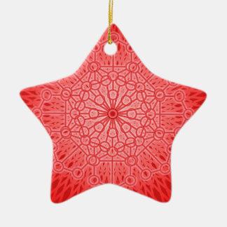 Geometría sagrada de la mandala roja de Chakra Adorno De Cerámica En Forma De Estrella