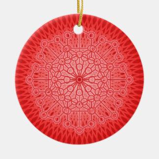 Geometría sagrada de la mandala roja de Chakra Adorno Redondo De Cerámica