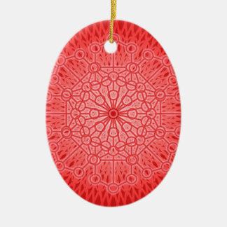 Geometría sagrada de la mandala roja de Chakra Adorno Ovalado De Cerámica