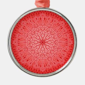 Geometría sagrada de la mandala roja de Chakra Adorno Redondo Plateado