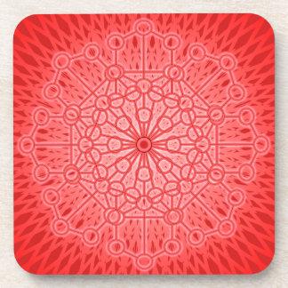 Geometría sagrada de la mandala roja de Chakra Posavasos De Bebidas