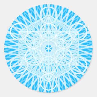geometría sagrada del chakra brillante de la etiqueta redonda