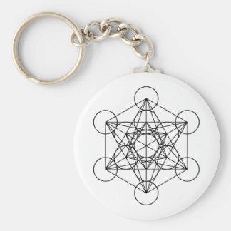 Geometría sagrada del cubo de Metatron Llavero Redondo Tipo Pin