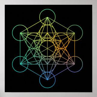 Geometría sagrada del cubo de Metatron Póster