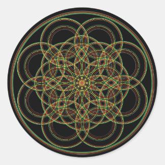 Geometría sagrada - mano dibujada pegatina redonda