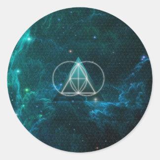 Geometría sagrada pegatina redonda