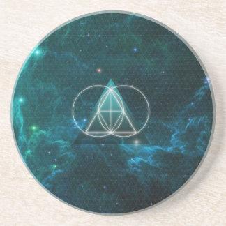 Geometría sagrada posavasos personalizados
