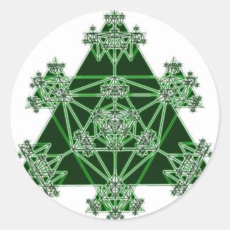 Geometría sagrada: Triángulos verdes: Pegatina Redonda