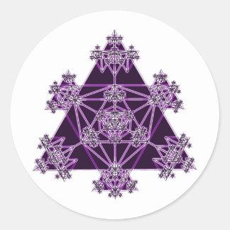 Geometría sagrada: Triángulos violetas: Pegatina Redonda