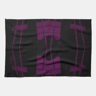 Geometría urbana púrpura y negra del arte toallas de cocina