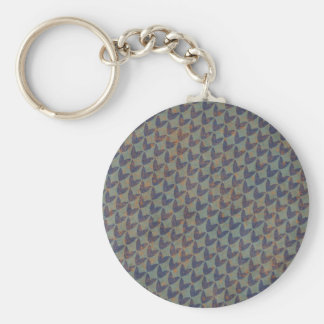 geometric02 GREY GRAYS NAVY BLUE ORANGE GRUNGE ARR Keychain