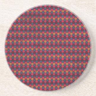 geometric09 MAROON PURPLE MUSTARD PINK COLORFUL GE Drink Coaster