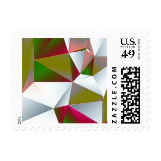Geometric 02 green postage stamp