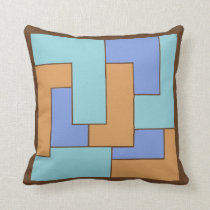 Geometric 1960s Calm Periwinkle Turquoise Camel Throw Pillow